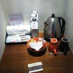 Free water, coffee/tea, tootbrush, shaver, etc.
