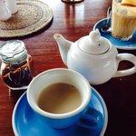 Delicious Homemade Chai Masala (blue cup) & Latte (glass)