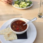 Soup of the day and salad
