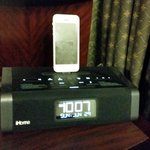 Ipod docking station and alarm clock, with plenty of other plug ins for working guests, Club Qua
