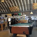 Inside with pool tables