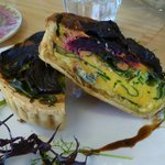 quiche, blue cheese and beetroot