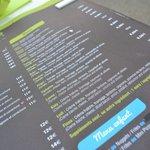 menu du restaurant