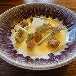 entrée : crémeux au vieux parmesan Régiano à la truffe d'Italie