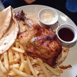 Half Grilled Chicken marinated in lemon with chips