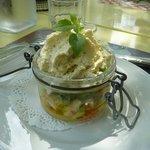 Très bonne terrine avocat crevettes pamplemousse sauce guacamol