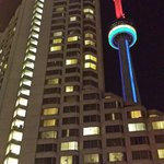 Night view of hotel and CN tower