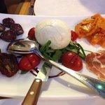 Starter to share of buffalo mozzarella, buffalo salami, buffalo cured meat and pumpkin.