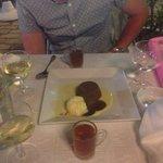 Chocolate dessert and peppermint tea
