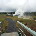 Steam coming from the geothermal borehole