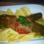 Dolmades with fresh fried potatoes!