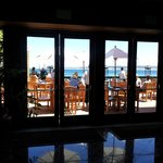 View of dining area overlooking ocean