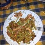 The green pasta frutti di mare.