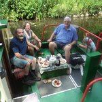 Larry,Georgina,Flint and Rob relaxing on the barge
