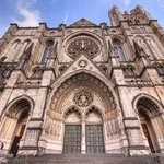 The wide frontal angle view of the Cathedral St.John the Divine