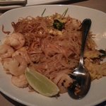 Shrimp Pad Thai-shrimp,rice noodles, green onion, peanuts, egg, traditional Pad Thai sauce