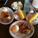 Sunday Lunch; pan fried chicken, potatoes and gravy, etc! YUM!