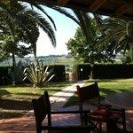 vista dal portico sul giardino e ingresso piscina.