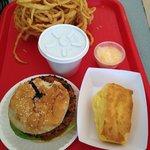 Veggie burger, veggie chili, cornbread, onion rings