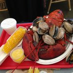 3 pound lobster, clams, corn
