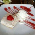 Homemade strawberry cheesecake. Yummy !!