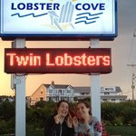 My twins about to enjoy a twin lobster dinner