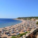 пляж огромный, несмотря на большое количество отдыхающим, всем хватает места с достатком