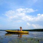kayaking among the water lilies