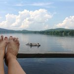 Relaxing on the deck of Mallard Rock
