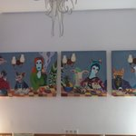 Quirky Paintings on the wall of the Reception Area