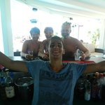 with our great barman Costa:-)
