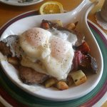 The Dutch Pot Roast Skillet with poached eggs. Vey good!
