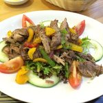 Warm shredded duck salad