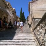 Looking up the many steps to the Roman ruins.