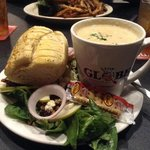 cream of crab soup and harvest salad