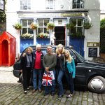 The Taxi and us outside the Grenadier Pub