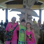 My Mom & Kids in front of the Dolphin Statue at Dolphinaris