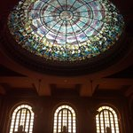 Dome in main lobby, stained glass window.