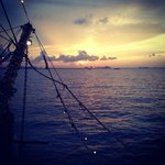 sunset from pirate ship