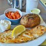 Fresh haddock done just right with homemade marinated carrots and tartar sauce...