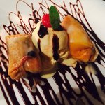 mango crepe dessert (fried in wonton wrapper with ice cream)...ridiculously good-tasting.