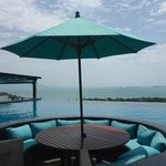 Swim up bar/restaurant to the left - Koh Phangan and the Gulf of Thailand in the distance