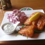 Traditional Battered Cod and Coleslaw