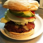Bacon Avocado Burger. Comes with choice of side