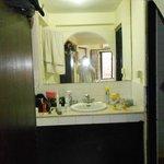 Vanity area outside the shower room