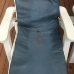The smelly, damaged and eroding sun lounger mattress on the sun beds in one of the Srivijaya Poo