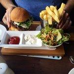 Lamb burger and chips.