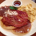 Pancakes bacon and eggs £5.95