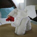 Pliage de serviette dans la chambre