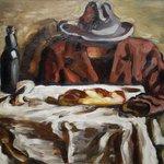 V. Lundstrøm: Opstilling med hat og franskbrød